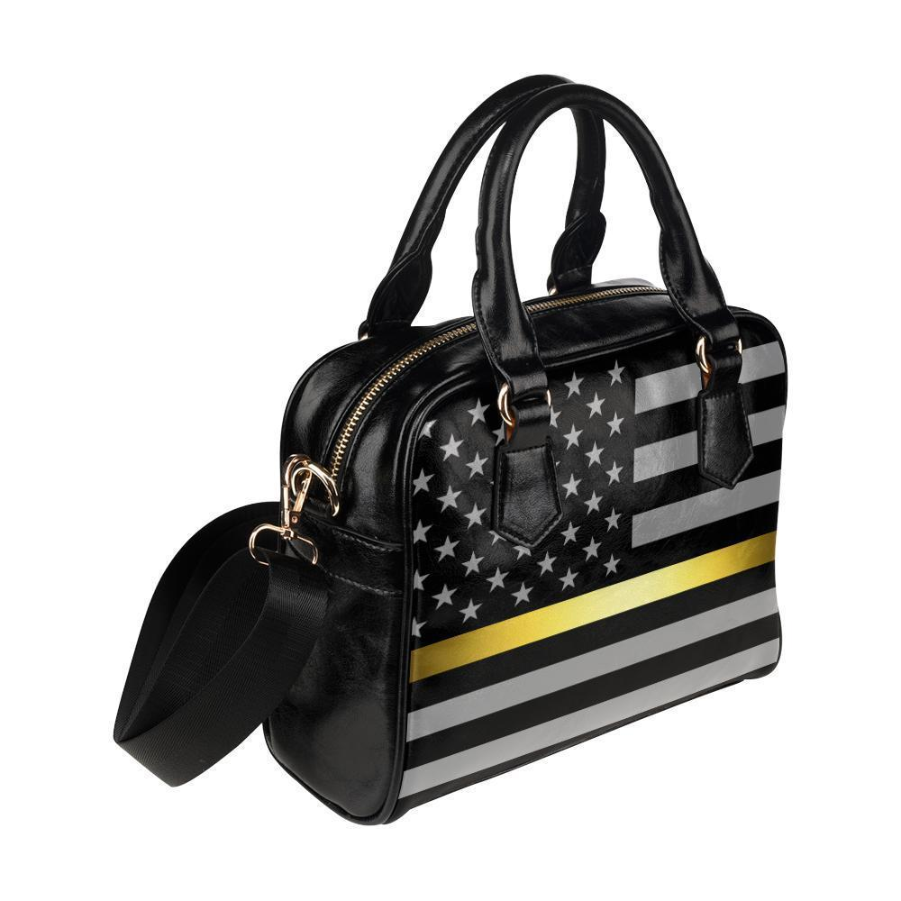 Thin Gold Line Leather Shoulder Handbag GearFrost