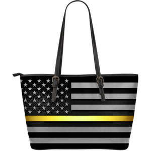 Thin Gold Line Leather Tote Bag GearFrost