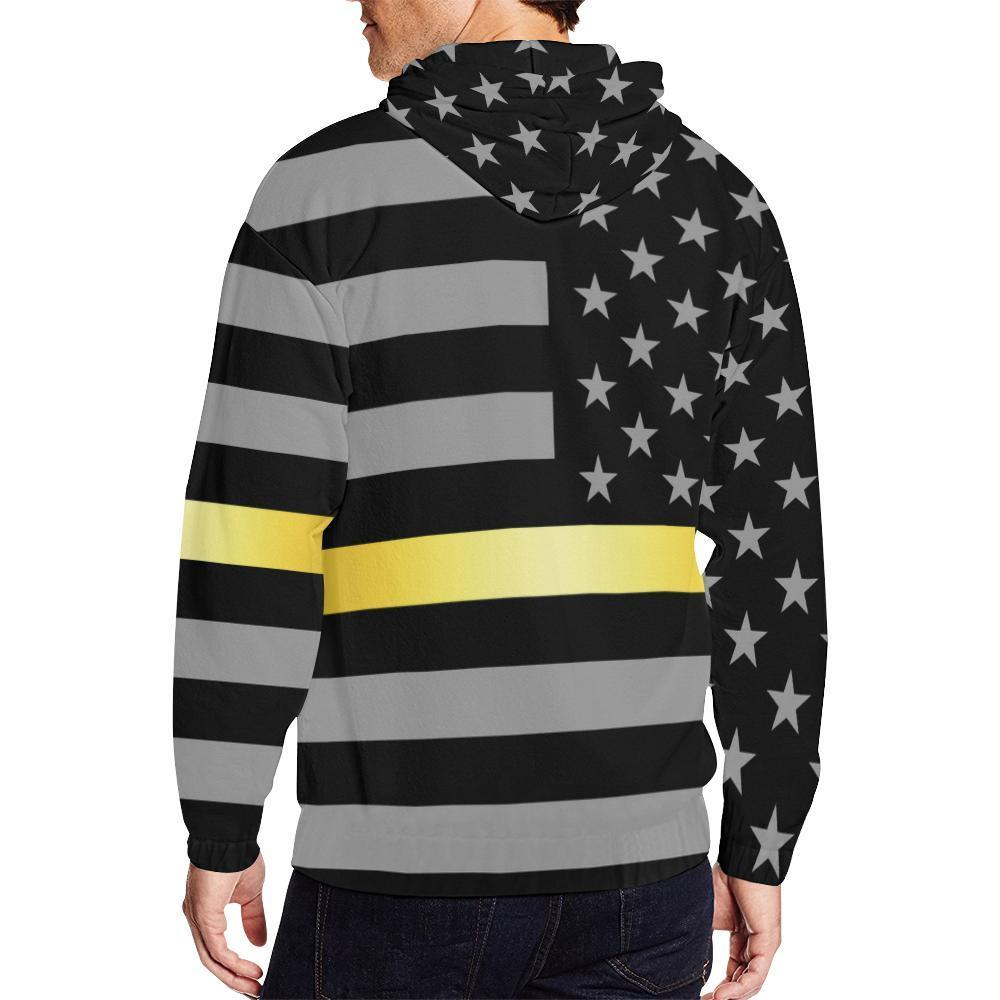 Thin Gold Line Men's Zip Up Hoodie GearFrost