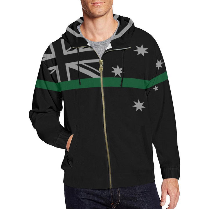 Thin Green Line Australia Men's Zip Up Hoodie GearFrost