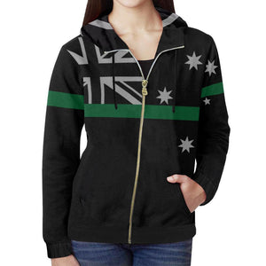 Thin Green Line Australia Women's Zip Up Hoodie GearFrost