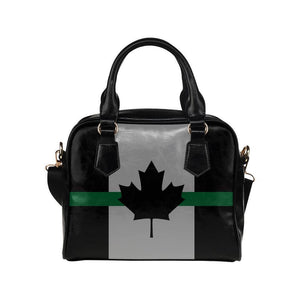 Thin Green Line Canada Leather Shoulder Handbag GearFrost