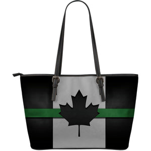 Thin Green Line Canada Leather Tote Bag GearFrost