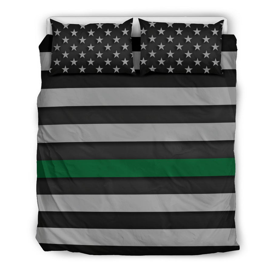 Thin Green Line Duvet Cover Bedding Set GearFrost