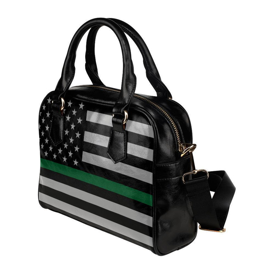 Thin Green Line Leather Shoulder Handbag GearFrost