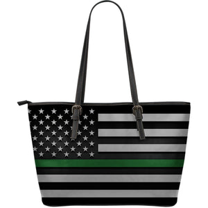 Thin Green Line Leather Tote Bag GearFrost