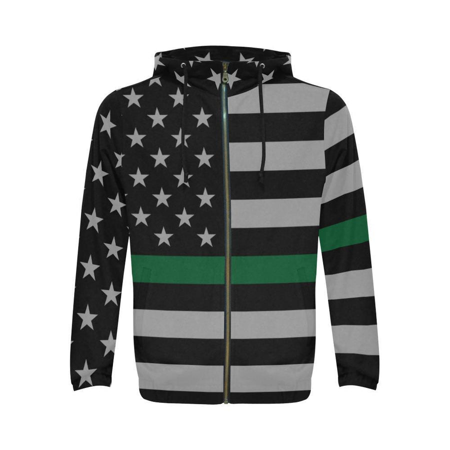 Thin Green Line Men's Zip Up Hoodie GearFrost