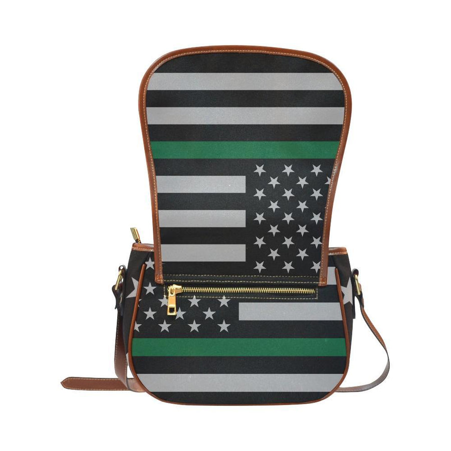 Thin Green Line Saddle Bag Crossbody Purse GearFrost