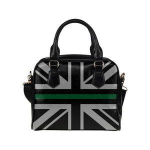 Thin Green Line Union Jack Leather Shoulder Handbag GearFrost