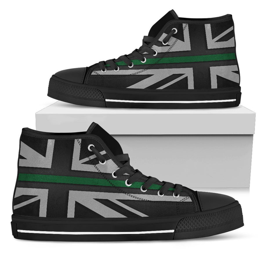 Thin Green Line Union Jack Men's High Top Shoes GearFrost