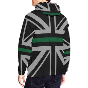 Thin Green Line Union Jack Men's Pullover Hoodie GearFrost