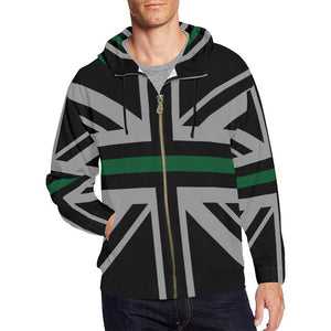 Thin Green Line Union Jack Men's Zip Up Hoodie GearFrost