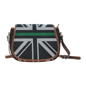 Thin Green Line Union Jack Saddle Bag Crossbody Purse GearFrost