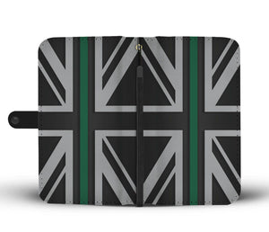 Thin Green Line Union Jack Wallet Phone Case GearFrost