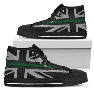 Thin Green Line Union Jack Women's High Top Shoes GearFrost