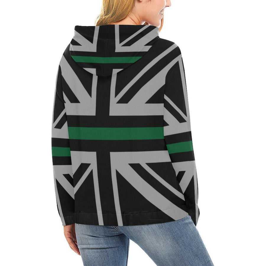 Thin Green Line Union Jack Women's Pullover Hoodie GearFrost