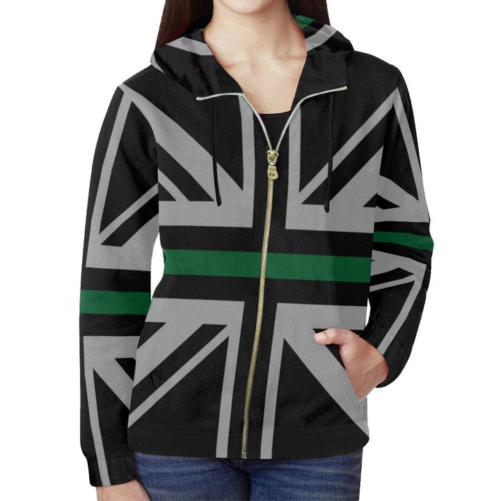 Thin Green Line Union Jack Women's Zip Up Hoodie GearFrost