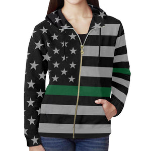 Thin Green Line Women's Zip Up Hoodie GearFrost