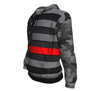 Thin Red Line Camo Unisex Pullover Hoodie GearFrost