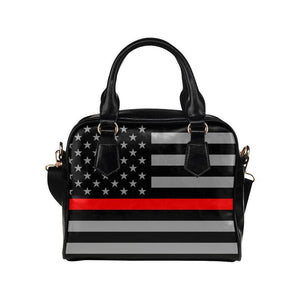 Thin Red Line Leather Shoulder Handbag GearFrost