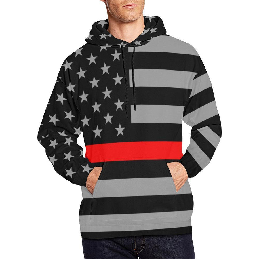 Thin Red Line Men's Pullover Hoodie GearFrost