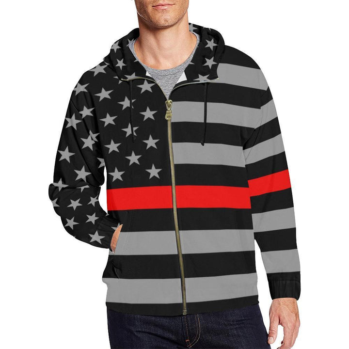 Thin Red Line Men's Zip Up Hoodie GearFrost
