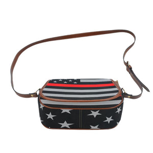 Thin Red Line Saddle Bag Crossbody Purse GearFrost