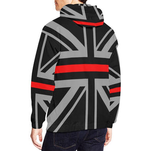 Thin Red Line Union Jack Men's Pullover Hoodie GearFrost
