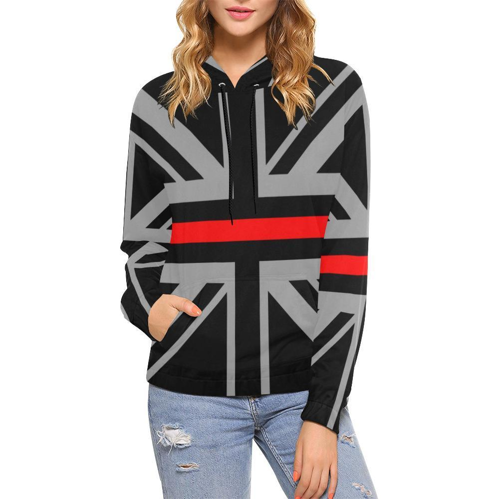 Thin Red Line Union Jack Women's Pullover Hoodie GearFrost
