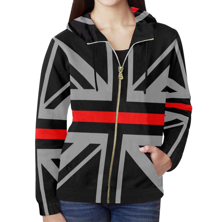 Thin Red Line Union Jack Women's Zip Up Hoodie GearFrost
