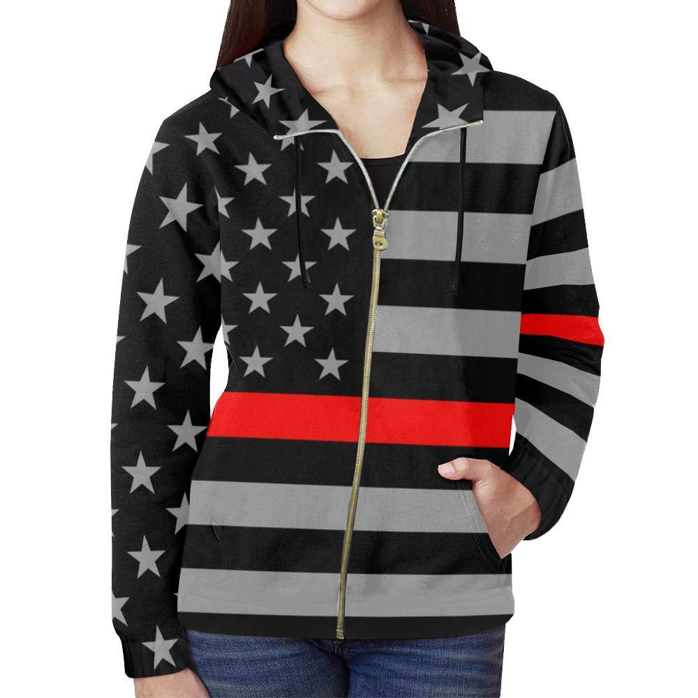 Thin Red Line Women's Zip Up Hoodie GearFrost