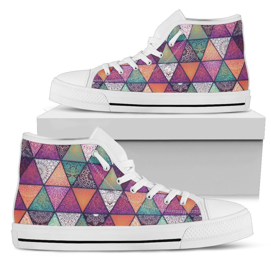 Triangle Bohemian Mandala Pattern Print Women's High Top Shoes GearFrost