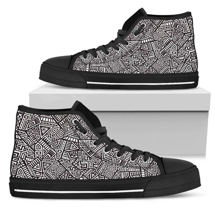 Tribal Aztec Geometric Pattern Print Women's High Top Shoes GearFrost