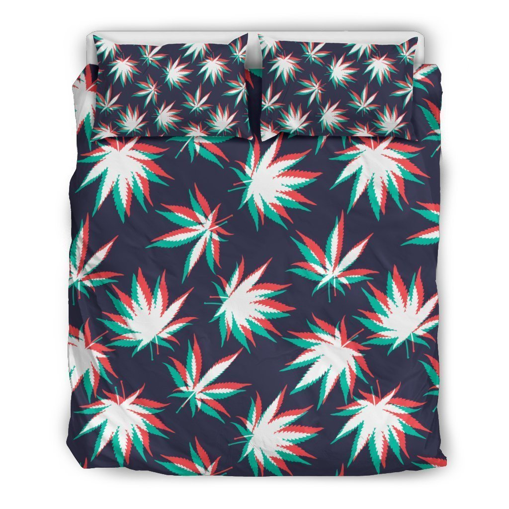 Trippy Hemp Leaves Reggae Pattern Print Duvet Cover Bedding Set GearFrost