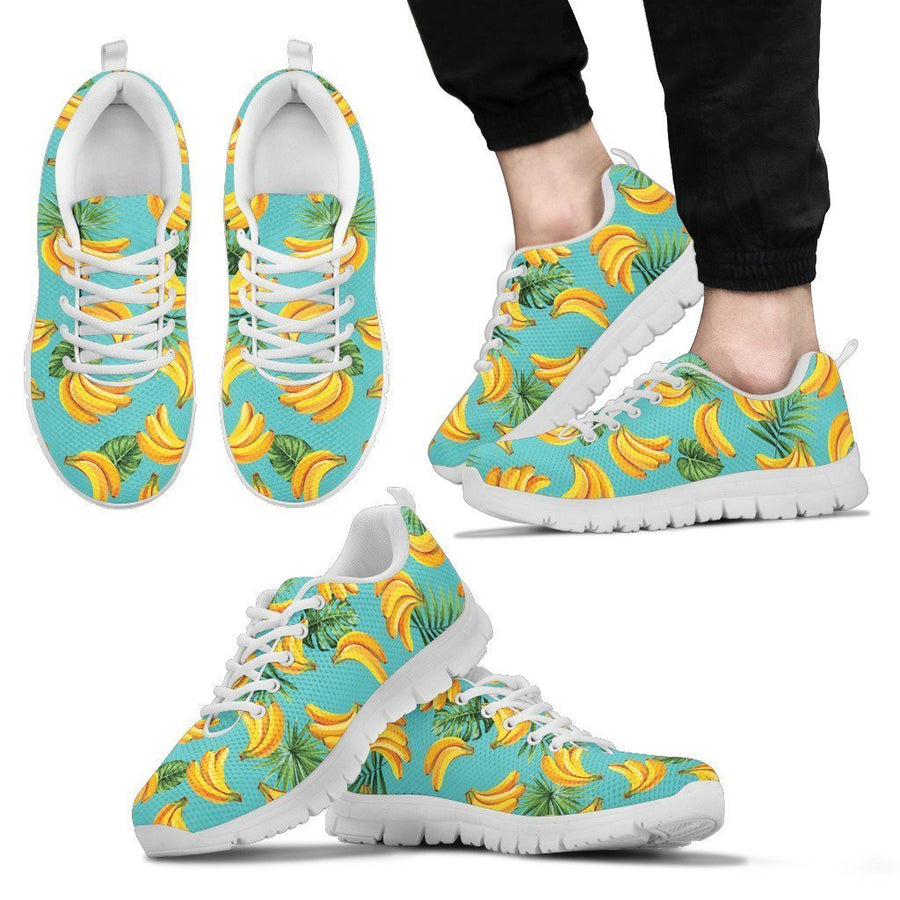 Tropical Banana Leaf Pattern Print Men's Sneakers GearFrost