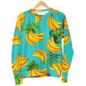 Tropical Banana Leaf Pattern Print Women's Crewneck Sweatshirt GearFrost