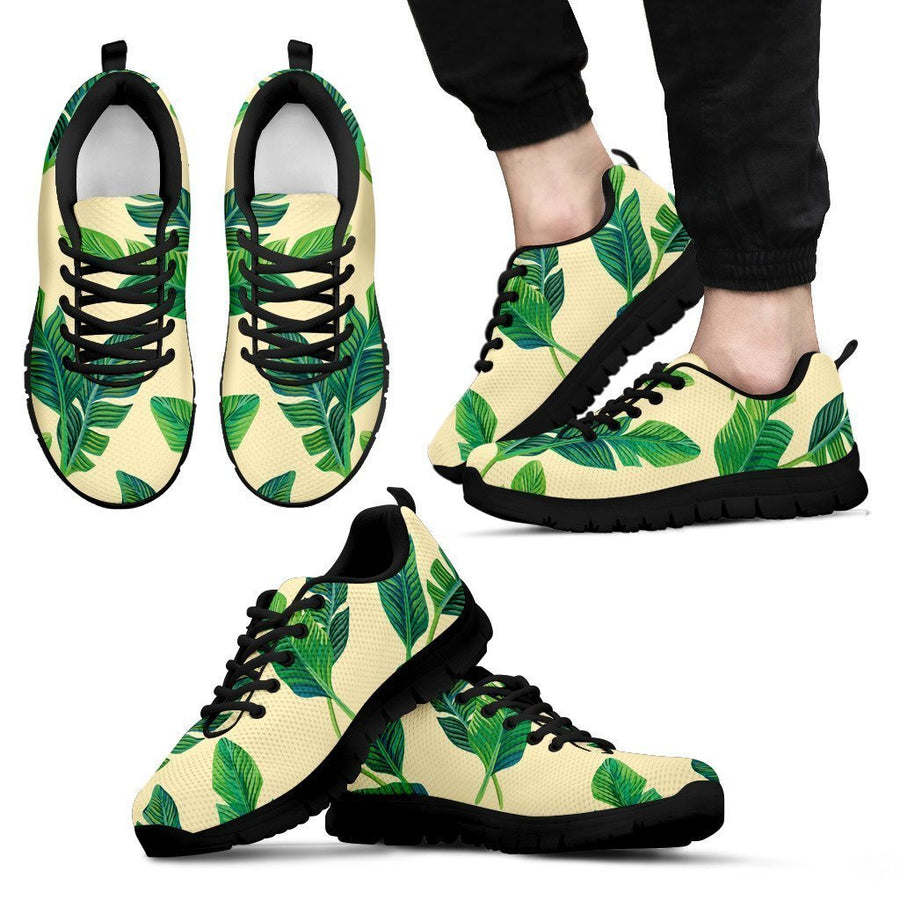Tropical Banana Palm Leaf Pattern Print Men's Sneakers GearFrost