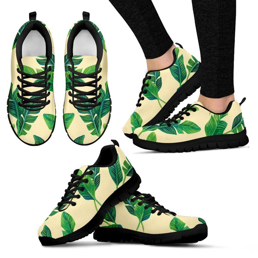 Tropical Banana Palm Leaf Pattern Print Women's Sneakers GearFrost