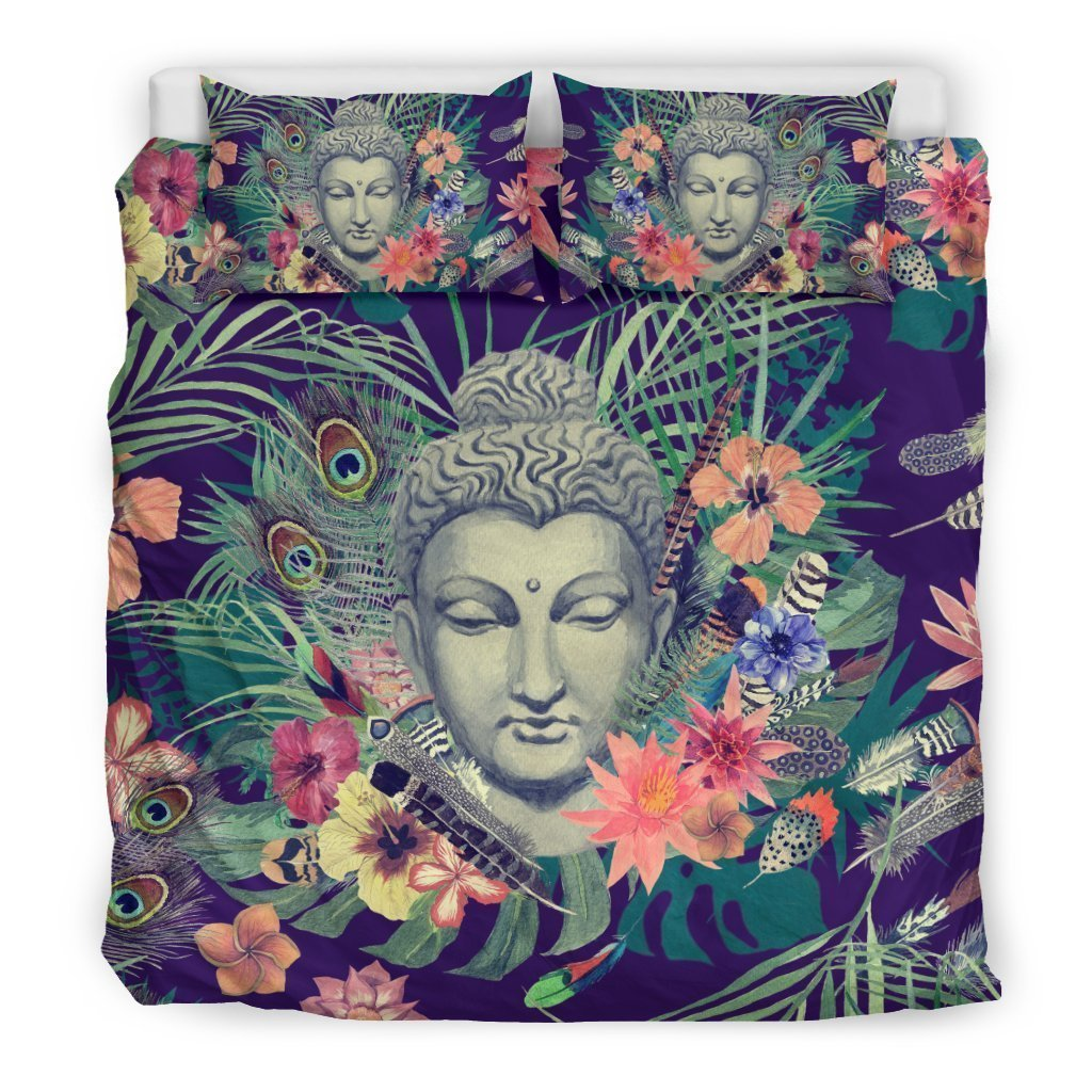 Tropical Buddha Print Duvet Cover Bedding Set GearFrost