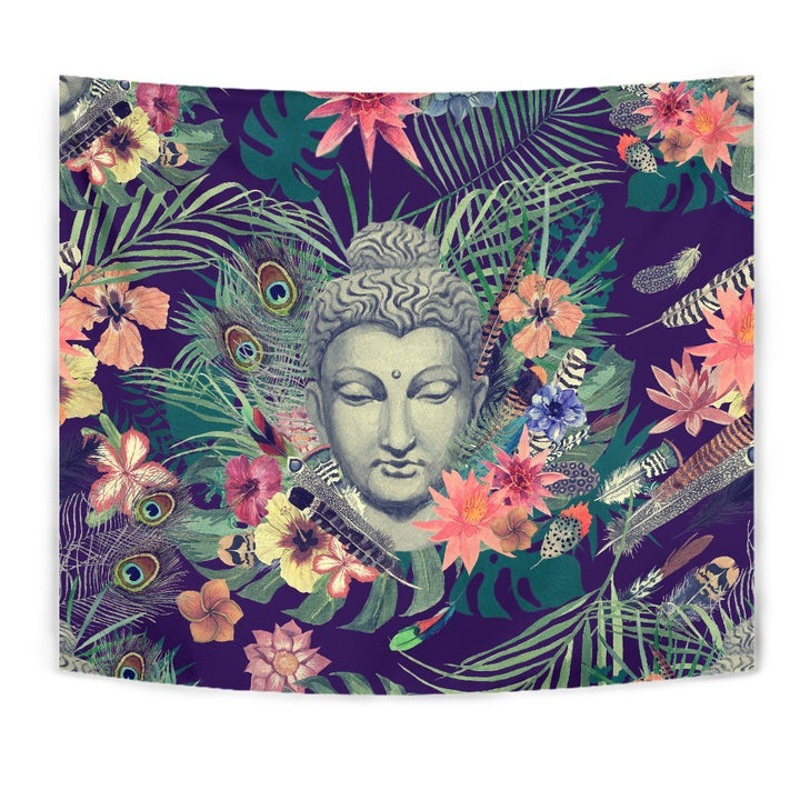 Tropical Buddha Print Wall Tapestry GearFrost