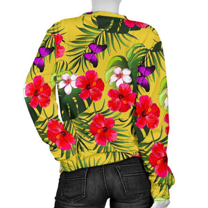 Tropical Exotic Hawaiian Pattern Print Women's Crewneck Sweatshirt GearFrost