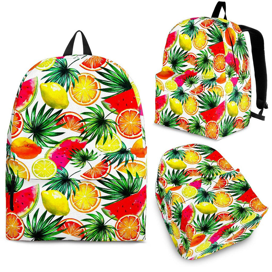 Tropical Fruit Leaf Pattern Print Backpack GearFrost
