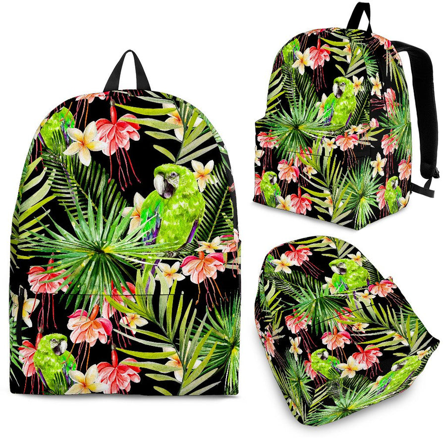 Tropical Hawaiian Parrot Pattern Print Backpack GearFrost