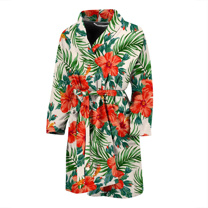 Tropical Hibiscus Blossom Pattern Print Men's Bathrobe GearFrost