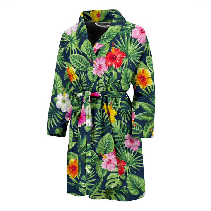 Tropical Hibiscus Flowers Pattern Print Men's Bathrobe GearFrost