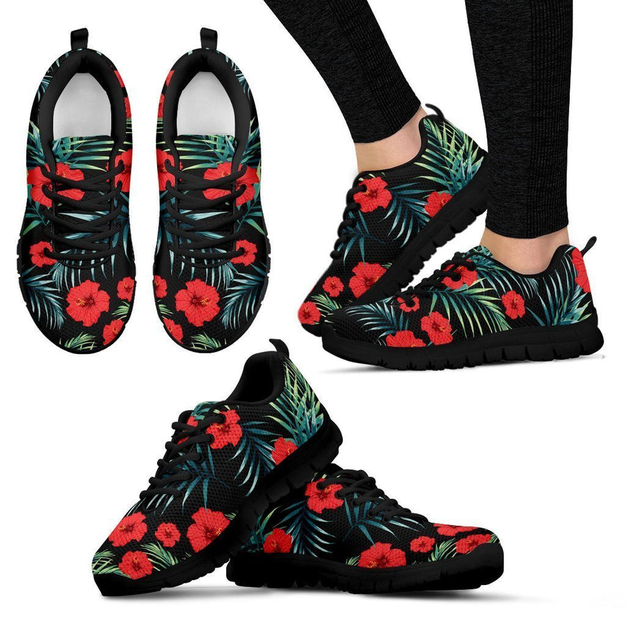 Tropical Hibiscus Leaves Pattern Print Women's Sneakers GearFrost