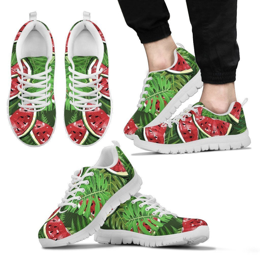 Tropical Leaf Watermelon Pattern Print Men's Sneakers GearFrost