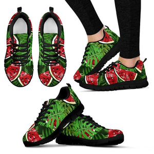 Tropical Leaf Watermelon Pattern Print Women's Sneakers GearFrost