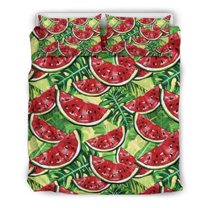 Tropical Leaves Watermelon Pattern Print Duvet Cover Bedding Set GearFrost