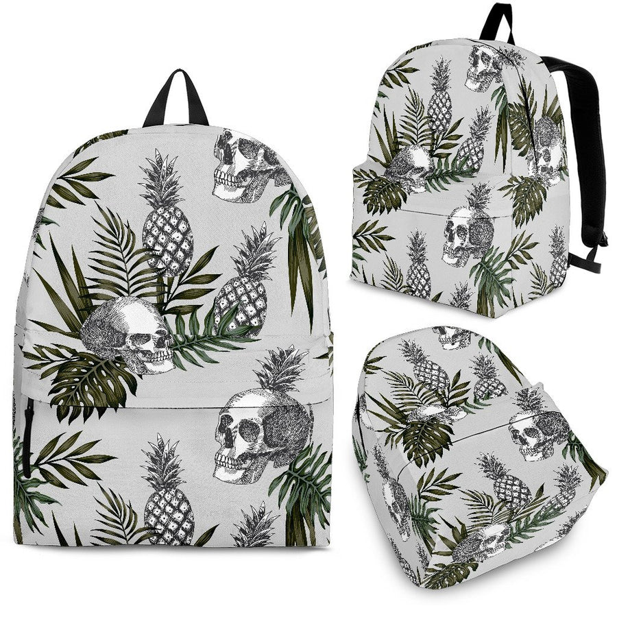 Tropical Pineapple Skull Pattern Print Backpack GearFrost